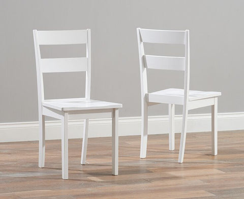 Chichester Solid Hardwood & Painted Dining Chairs (Pair) - White