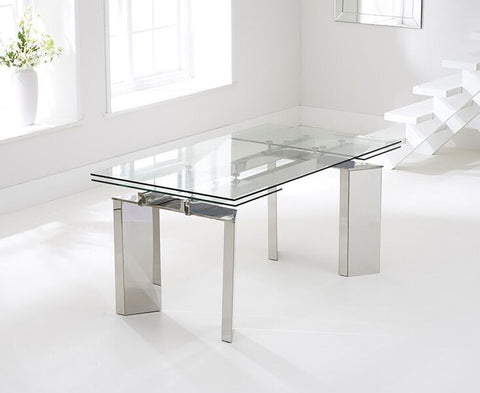 Millicent 160cm Glass Extending Dining Table