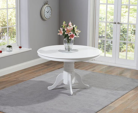 Elstree Solid Hardwood & Painted 120cm Round Dining Table - White
