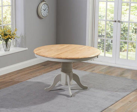 Elstree Solid Hardwood & Painted 120cm Round Dining Table - Oak & Grey