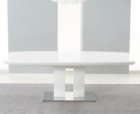 Rossini 180cm White High Gloss Extending Dining Table