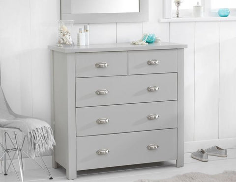 Sandringham Oak Grey 3 + 2 Solid Hardwood Drawer Chest