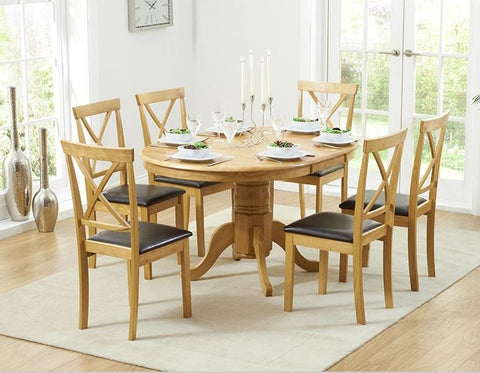 Elstree 100cm Extending Solid Oak Dining Set 4/6 Chairs