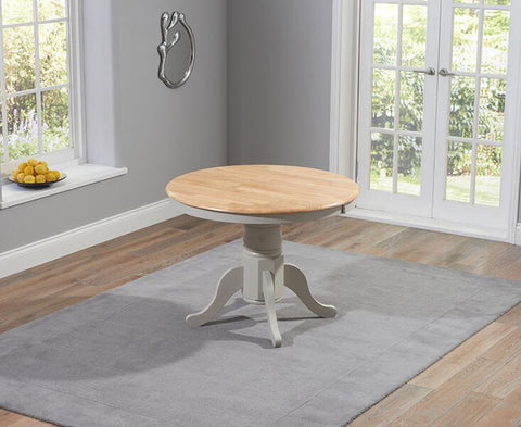 Elstree Solid Hardwood & Painted 100cm Ext Dining Table - Oak & Grey