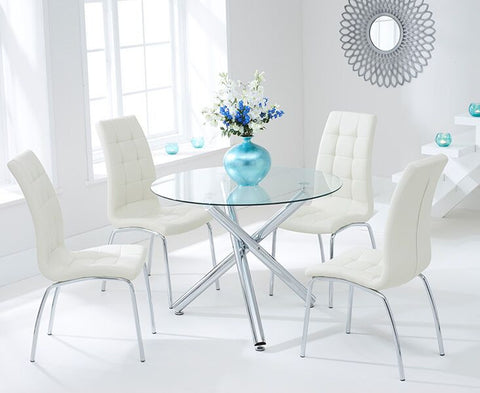 Odessa 100cm Glass DT with 4 Cream California Chairs