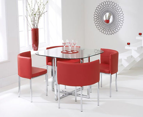 Abingdon Stowaway Glass Top Dining Set with 4 Red PU Leather Dining Chairs