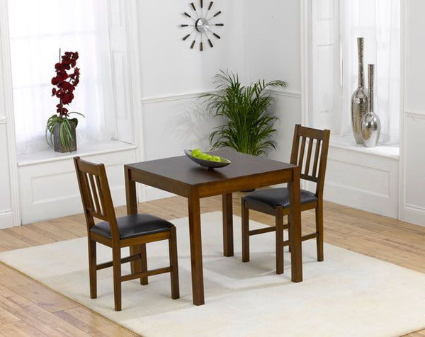 Marbella Dark 80cm Solid Oak Dining Set 2 Chairs