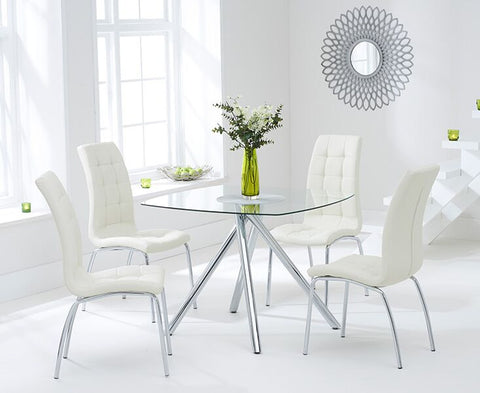 Elba 100cm Tempered Glass Dining Table with 4 Cream California Chairs