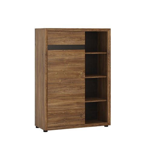 Messina 1 door 1 drawer bookcase in Dark Oak / Chocolate