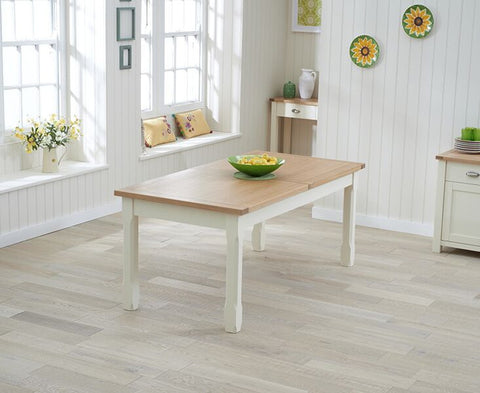 Sandringham 180cm Solid Oak & Cream Extending Dining Table