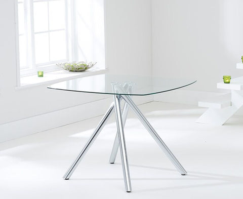 Elba 100cm Tempered Glass Dining Table with Chrome Legs
