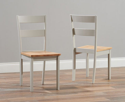 Chichester Solid Hardwood & Painted Dining Chairs (Pair) - Oak & Grey