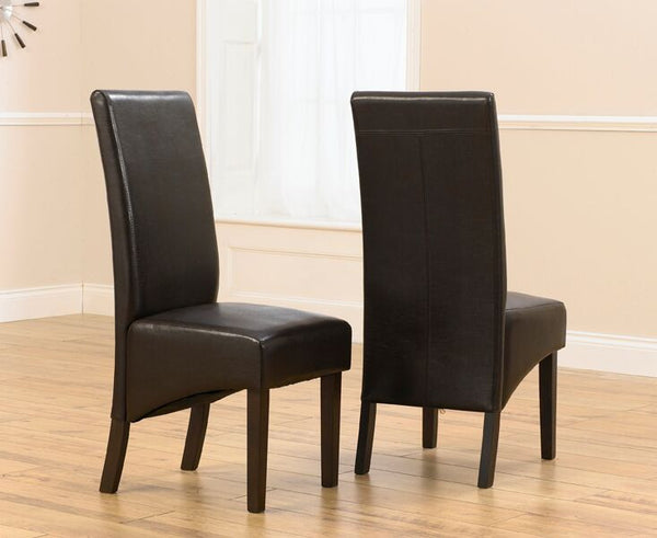 Dakota Solid Oak Chairs with Faux Leather Upholstery (Pair)