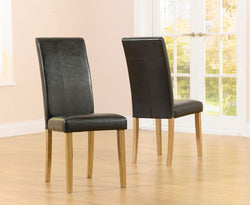Atlanta Faux Leather and Solid Oak Dining Chairs (Pair)