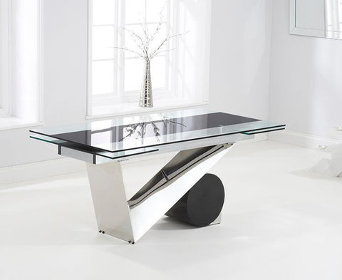 Peru 170cm Tempered Glass Extending Dining Table