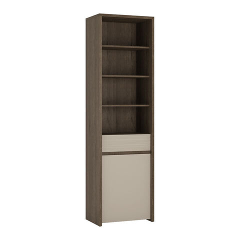 Aspen 1 Door 1 Drawer Bookcase in Riviera Oak