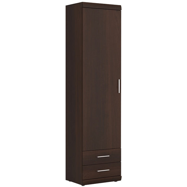 Imperial 1 Door 2 Drawer Narrow Cabinet in Dark Mahogany Melamine