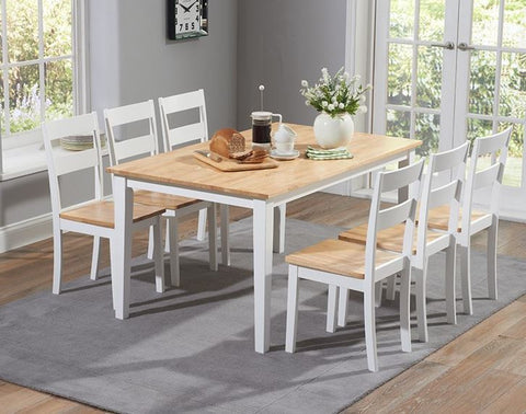 Chichester 150cm Oak & White Dining Table with 6 Dining Chairs
