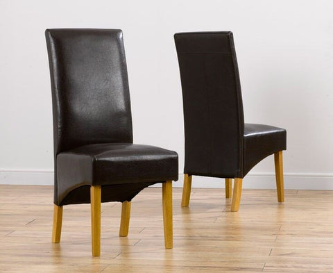 Venice Solid Wood Leather Upholstery Dining Chairs (Pair)