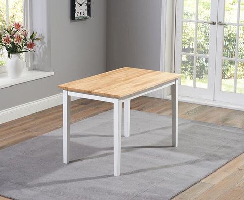 Chichester Solid Hardwood & Painted 115cm Dining Table - Oak & White