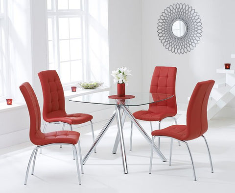 Elba 100cm Tempered Glass Dining Table with 4 Red California Chairs