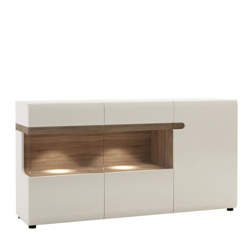 Chelsea Living 3 Door Glazed Sideboard in White with Truffle Solid Oak Trim