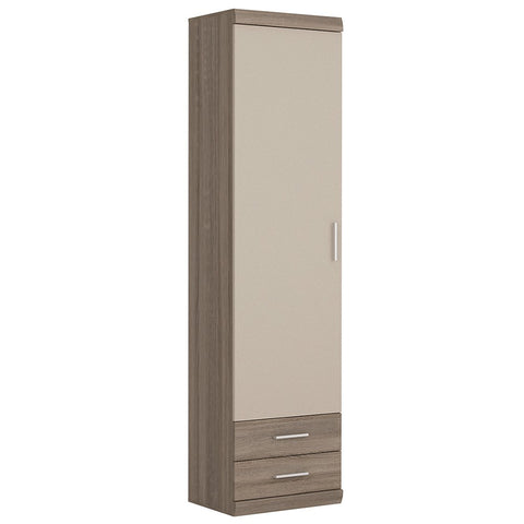 Park Lane Tall 1 Door 2 Drawer Cabinet in Oak / Champagne