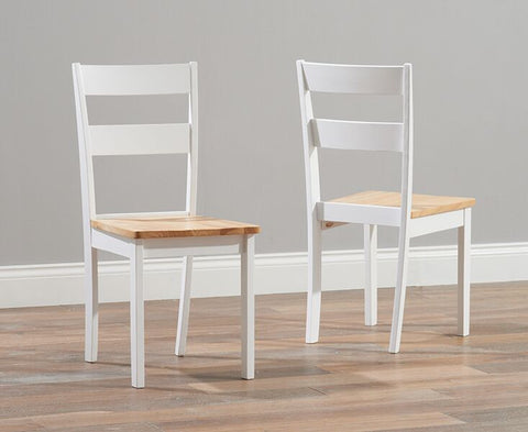 Chichester Solid Hardwood & Painted Dining Chairs (Pair) - Oak & White