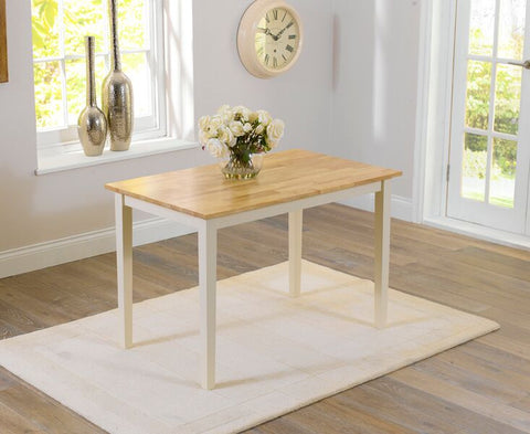 Chichester Solid Hardwood & Painted 115cm Dining Table - Oak & Cream