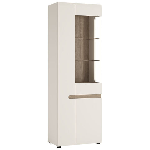 Chelsea Living Tall Glazed Narrow Display Unit (LHD) White with Truffle Oak Trim