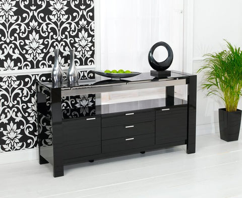 Sophia High Gloss Black Sideboard