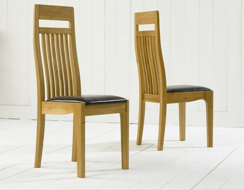 Monte Carlo Solid Oak Chairs with Leather Seats (Pair)