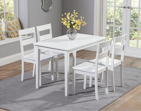 Chichester 115cm Solid Hardwood White Dining Set with 4 Chairs