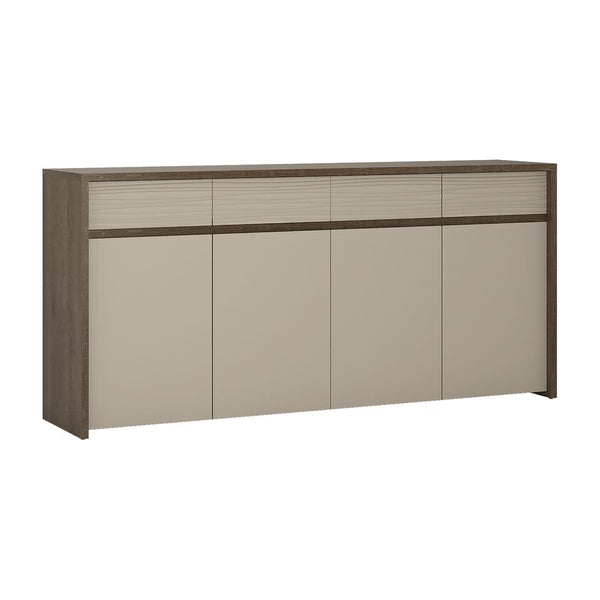 Aspen 4 Door Sideboard (Inc LED lighting) in Riviera Oak