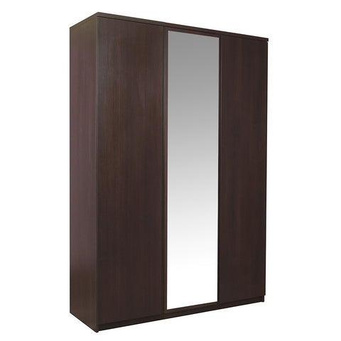 Pello 3 Door Wardrobe with Mirror Door in Dark Mahogany