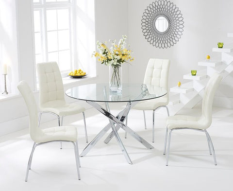 Daytona 110cm Tempered Glass Dining Table with 4 Cream California Chairs