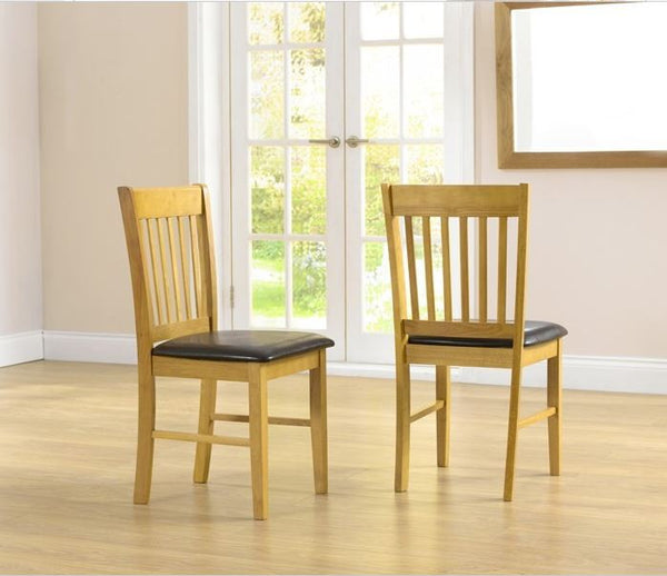 Alaska Solid Hardwood Dining Chairs with Brown PU Seat (Pairs)