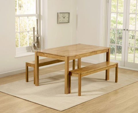 Promo Solid Oak 150cm Dining Table with 2 Large Benches