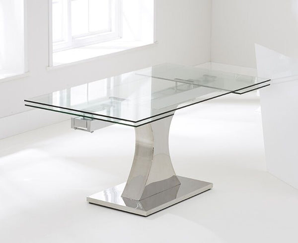 Amber 160cm Tempered Glass Extending Dining Table