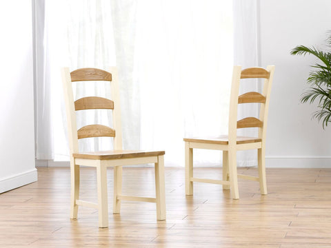 Windsor Solid Pine & Ash Dining Chairs (Pair)