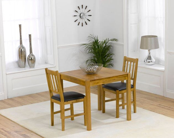 Promo 80cm Solid Oak Dining Set 2 Brown Leather Seats Chairs