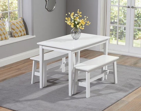 Chichester 115cm Solid Hardwood White Dining Set with 2 Benches