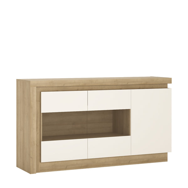 Lyon 3 Door Glazed Sideboard (inc LED lighting) in Riviera Oak / White High Gloss