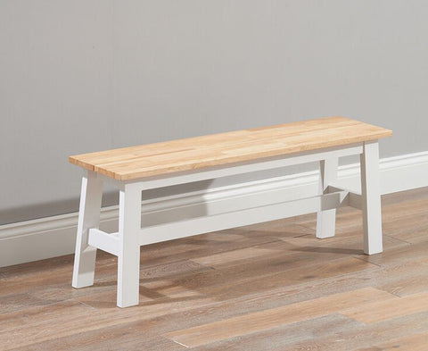 Chichester Solid Hardwood & Painted Large Bench -Oak & White