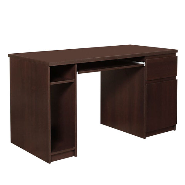 Pello Twin Pedestal Computer Office Desk in Dark Mahogany