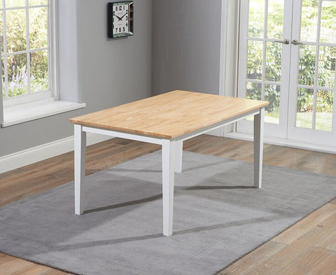 Chichester Solid Hardwood & Painted 150cm Dining Table - Oak & White