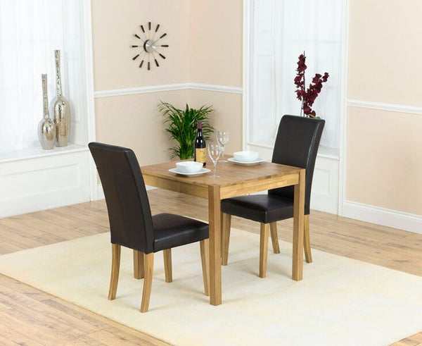 Promo Atlanta 80cm Solid Oak Dining Set 2 Leather Chairs