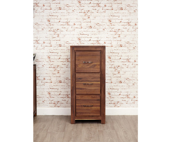 Mayan Solid Walnut 3 Drawer Filing Cabinet