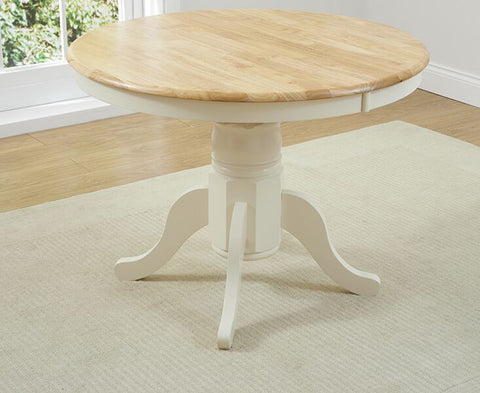 Elstree Solid Hardwood & Painted 100cm Ext Dining Table - Oak & Cream