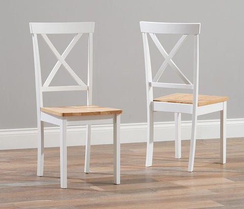 Elstree Solid Hardwood & Painted Dining Chairs (Pair) - Oak & White